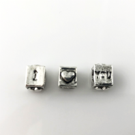 6 Antique Silver 7mm Love Bead Hole 5mm